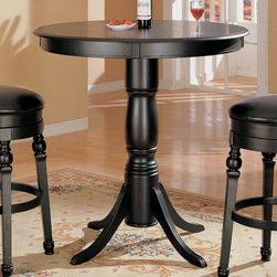 """Coaster - Bar Table in Black - 42"""" dia. bar table in a black finish. Bar table with turned base and fluted legs.; Transitional Style; Finish: Black; Some assembly required.; Dimensions: 42""""dia x 42.25""""H"""