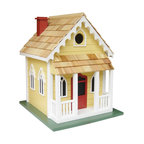 "Home Bazaar Inc. - Chatham Cottage - Yellow with Red Door - Located at the ""elbow"" of Cape Cod, Chatham has a long history as a shipping, fishing, and whaling center. Chatham's early prosperity would leave it with a considerable number of 18th century buildings whose charm helped it develop into a popular summer resort. Our fully, functional birdhouse features gingerbread fretwork along the roof line and a porch to watch the world go by on a warm summer evening. A removable back wall, drainage, ventilation, an unpainted interior and a 1.25 "" hole size will invite nesting birds in and keep larger ones out. The finish is an outdoor, water-based, non-toxic paint."