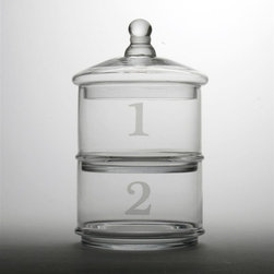 Tag Everyday - Glass Stacking Canisters - Set of 2 - Each section numbered. Frosted detail on glass and handle. Hand washColor: Clear . Lid: 4.5 in. H x 7.25 in. dia Each Canister: 4.375 in. H x 6.5 in. dia (8 cup capacity)