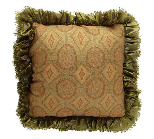 Brandi Renee Designs - Gold Tan and Olive Ruffle Pillow - A timeless, sensible design, with a touch of glam. This lovely cushion unites sweet vintage style with striking detail. With the lush polyfill insert, it'll feel right at home tossed in with bedding or layered among an existing pillow arrangement. The  jacquard medallion-print fabric has a luxurious appearance and includes brilliant pops of green, gold, and camel brown. Complete with a ruffled olive trim, it's a spectacular accessory with a traditional twist.