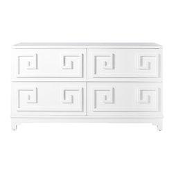 Worlds Away - Werstler Dresser - 4-drawer white lacquer dresser with mirror top.