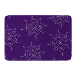 "KESS InHouse - KESS Original ""Spiderwebs - Purple"" Memory Foam Bath Mat (24"" x 36"") - These super absorbent bath mats will add comfort and style to your bathroom. These memory foam mats will feel like you are in a spa every time you step out of the shower. Available in two sizes, 17"" x 24"" and 24"" x 36"", with a .5"" thickness and non skid backing, these will fit every style of bathroom. Add comfort like never before in front of your vanity, sink, bathtub, shower or even laundry room. Machine wash cold, gentle cycle, tumble dry low or lay flat to dry. Printed on single side."