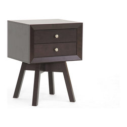 """Wholesale Interiors - Warwick Brown Modern Accent Table and Nightstand - Warwick is a small-sized end table packed with modern details: two drawers, beveled edges, a showstopper of a base, and an overall mid-century modern aesthetic. Dark brown faux wood grain paper veneer finishes off the engineered wood frame. Non-marking feet and silver tone knobs complete the look. Made in Malaysia, this designer end table also serves as a stellar modern nightstand. Assembly is required. To clean, dust with a dry cloth. Dimensions: 17.8""""W x 15""""D x 24""""H, drawer dimension: 11.5""""W x 11.125""""D x 2.25""""H."""