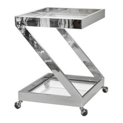 """worlds away - Worlds Away Lenox Nickel Plated """"Z"""" bar cart - Imagine your guests' delight when you serve their cocktails form this gleaming nickel-plated bar cart designed by Mathew Izzo. Shaped like the letter Z, it features clear glass shelves and wheels for easy transport. Cheers!"""