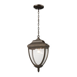 Elk Lighting - Elk Lighting 27012/1 1- Light Outdoor Pendant in Weathered Rust - 1- Light Outdoor Pendant in Weathered Rust belongs to Brantley Place Collection by The Brantley Place Collection Features A Quaint Rectangular Design Of Cast Aluminum. The Gently Curving Frame Leads The Eye To A Stepped Detailed Top Cap With A Decorative Fringe. Clear Seedy Glass Is Contrasted With A Weathered Rust Finish. Pendant (1)