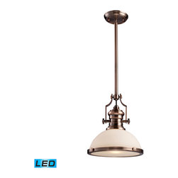 Elk Lighting - EL-66143-1-LED Chadwick LED 1-Light Pendant in Antique Copper - The Chadwick Collection reflects the beauty of hand-turned craftsmanship inspired by early 20th century lighting and antiques that have surpassed the test of time. This Robust Collection features detailing appropriate for classic or transitional decors. White glass compliments the various finish options including polished nickel, satin nickel, and antique copper. Amber glass enriches the oiled bronze finish. - LED offering up to 800 lumens (60 watt equivalent) with full range dimming. Includes an easily replaceable LED bulb (120V).