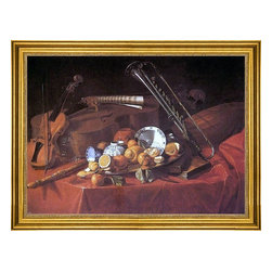 "Cristoforo Munari-18""x24"" Framed Canvas - 18"" x 24"" Cristoforo Munari Still-Life with Musical Instruments framed premium canvas print reproduced to meet museum quality standards. Our museum quality canvas prints are produced using high-precision print technology for a more accurate reproduction printed on high quality canvas with fade-resistant, archival inks. Our progressive business model allows us to offer works of art to you at the best wholesale pricing, significantly less than art gallery prices, affordable to all. This artwork is hand stretched onto wooden stretcher bars, then mounted into our 3"" wide gold finish frame with black panel by one of our expert framers. Our framed canvas print comes with hardware, ready to hang on your wall.  We present a comprehensive collection of exceptional canvas art reproductions by Cristoforo Munari."