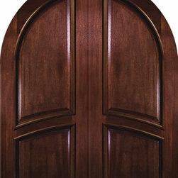 """Slab House Double Door 96 Mahogany 2 Panel Round Top Solid - SKU#PD8353ABrandGlassCraftDoor TypeExteriorManufacturer CollectionSolid Panel Entry DoorsDoor ModelDoor MaterialWoodWoodgrainMahoganyVeneerPrice3844Door Size Options2(36"""") x 96"""" (6'-0"""" x 8'-0"""")  $0Core TypeDoor StyleRound TopDoor Lite StyleDoor Panel Style2 PanelHome Style MatchingDoor ConstructionPortobelloPrehanging OptionsSlabPrehung ConfigurationDouble DoorDoor Thickness (Inches)1.75Glass Thickness (Inches)Glass TypeGlass CamingGlass FeaturesGlass StyleGlass TextureGlass ObscurityDoor FeaturesDoor ApprovalsWind-load Rated , FSC , TCEQ , AMDDoor FinishesDoor AccessoriesWeight (lbs)575.2Crating Size25"""" (w)x 108"""" (l)x 52"""" (h)Lead TimeSlab Doors: 7 daysPrehung:14 daysPrefinished, PreHung:21 daysWarrantyOne (1) year limited warranty for all unfinished wood doorsOne (1) year limited warranty for all factory?finished wood doors"""