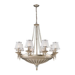 Elk Lighting - Elk Lighting 11361/8+6 14- Light Chandelier in Aged Silver - 14- Light Chandelier in Aged Silver belongs to Renee Collection by This Elegant Empire Style Collection Features Strips Of Crystal Beads Embedded Into Openings In The Metalwork. This Creates A Striking Patterned Effect As Light Passes Through The Lines Of Crystal And Impart Contrast To The Aged Silver Metal Surface. Sheer White Fabric Shades Included. Chandelier (1)
