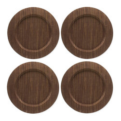 """Origin Crafts - Water hyacinth charger plates (set of 4), chocolate - Water Hyacinth Charger Plates (Set of 4), Chocolate Made from sun dried water hyacinth stems which are woven, dyed and sewn w/cotton and polyester thread. Water hyacinth is a natural, renewable resource. Wipe clean with damp cloth - spot clean only, color transfer may occur. Stretched over E1 MDF wooden plate. Dimensions (in):13"""" dia. By Tag Ltd. - Tag Ltd. is a supplier of decorative accessories. Ships out in 2-3 Business Days."""