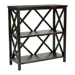 Safavieh Lucas Etagere - Distressed Black - A gorgeous distressed finish and simple, traditional style make the Safavieh Lucas Etagere - Distressed Black a lovely storage solution for any room in your home. Whether storing books, displaying decor items, or keeping important items close to your desk, this two-shelf etagere is a great choice.About SafaviehConsidered the authority on fine quality, craftsmanship, and style since their inception in 1914, Safavieh is most successful in the home furnishings industry thanks to their talent for combining high tech with high touch. For four generations, the family behind the Safavieh brand has dedicated its talents and resources to providing uncompromising quality. They hold the durability, beauty, and artistry of their handmade rugs, well-crafted furniture, and decorative accents in the highest regard. That's why they focus their efforts on developing the highest quality products to suit the broadest range of budgets. Their mission is perpetuate the interior furnishings craft and lead with innovation while preserving centuries-old traditions in categories from antique reproductions to fashion-forward contemporary trends.