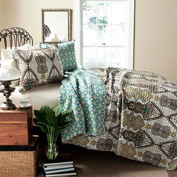 Lush Decor - Nora Sage Three-Piece Full/Queen Quilt Set - - Mughal style pattern was the inspiration in creating this beautiful Nora 3 piece set. One side of the quilt is adorned with earthy tones of sage, brown, yellow, and blue colors and the other side features scale down floral pattern in contrast colors traversing through the quilt. Made from 100% cotton, this set is soft to the hand and has wonderful quilting details  - Set Includes: 1 Quilt, 2 shams  - Care Instructions: Machine wash cold, gentle cycle, only non chlorine bleach when needed, tumble dry low, cool iron if needed  - Fill Content: 100% polyester Lush Decor - C22009P14-000