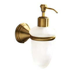 Gedy - Wall Mounted Frosted Glass Soap Dispenser With Bronze Mounting - Classic style wall mount round liquid soap dispenser.