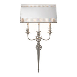 Kathy Kuo Home - Monroe Hollywood Regency French Deco Polished Nickel Deco Style Sconce - Inspired by torches lining romantic fortress walls, this dazzling polished nickel sconce illuminates and beautifies your castle. Elegantly shaped, solid brass rises into three delicate limbs before disappearing behind the shimmering shade. Parallel cuts in the nickel allow light to pass through and cast intriguing shadows on all of your adventures.