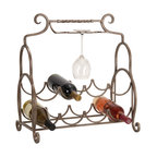 ecWorld - Decorative Metal 8-Bottle Wine Bottle Holder Rack with Glass Rack - The artistic metal wine holder rack is both beautiful and functional. Perfect for entertaining or just everyday convenience. Holds 8 wine bottles and 3 wine glasses it is ideal to store and display your finest wine selection.