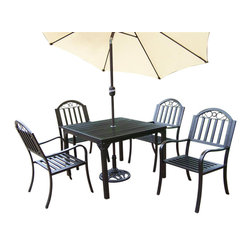 Oakland Living - 7-Pc Outdoor Dining Set - Includes square dining table, four arm chairs, 9 ft. tilting umbrella and stand. Lightweight. Umbrella hole. Metal hardware. Fade, chip and crack resistant. Crisp and stylish traditional straight pattern. Warranty: one year limited. Made from durable tubular iron. Hammer tone bronze hardened powder coat finish. Minimal assembly required. Chair: 21.5 in. W x 23 in. D x 34 in. H (28 lbs.). Table: 40 in. L x 40 in. W x 29.5 in. H (58 lbs.)The Oakland Rochester Collection combines practical designs and modern style giving you a rich addition to any outdoor setting. Each piece is hand cast and finished for the highest quality possible.