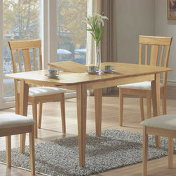 Monarch - 12in. Butterfly Leaf Dining Table in Maple - This lovely casual dining table will be the perfect addition to your dining room. The rectangular table top has smooth curved ends, above sleek square tapered legs. A center butterfly leaf allows you to easily extend the length of the table from 48 to 60 inches long so that you can accommodate dinner guests. In a warm Natural finish, this table is sure to blend beautifully with your home decor.
