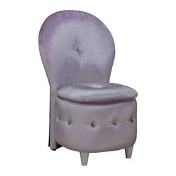 Standard Furniture - Standard Furniture Sit N' Store Storage Stool in Lavender Velvet - Sit n' Store Chairs are versatile and multifunctional seating options for youth bedroom, all with storage beneath the lift off seat cushion. - 94313.  Product features: Two back styles are available, an angular tapered V-Shaped Back, or a softly rounded balloon back profile.; Chairs are available in pink, lavender and white plush velvet fabric or leather-like Soft Touch black PVC, both with jeweled button tufting accents.; Surfaces clean easily with a soft cloth.. Product includes: Stool (1). Storage Stool in Lavender Velvet belongs to Sit N' Store Collection by Standard Furniture.