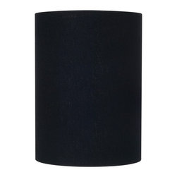 "Lamps Plus - Contemporary Black Linen Cylinder Lamp Shade 8x8x11 (Spider) - This shade is ideal for giving a table or floor lamp a fresh new look. It comes in a black fabric with rolled edges. A quick and easy way to update your decor. The correct size harp is included free with this shade. Black linen. Chrome spider fitting. Shade drop 2 1/2"". 8"" across the top. 8"" across the bottom. 11"" high.  Black linen.   Chrome spider fitting.   Shade drop 2 1/2"".   8"" across the top.   8"" across the bottom.   11"" high."