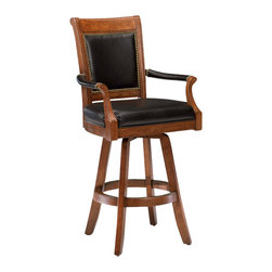 Hillsdale Furniture - Kingston Game Swivel Leather Back Barstool - When you want to add more than a bit of class to the den or library, bring on the Kingston Game Swivel Leather Back Barstool. Solid wood construction with a light cherry finish, it adds the dignity and comfort of a padded leather seat and back. If you're going to sit down, you might as well do it in style, and there's no more stylish way to do it than on this beautiful game stool. With armrests, classic swivel design and cutting edge black leather seat upholstery, this chair is perfect for any setting. Comfort is assured by the soft and supple padded leather seat and back, highlighted with traditional metal beading. * For residential use. Add more than a bit of class to the den or library with these Game Swivel Leather Back Barstools.. Solid wood construction. Light cherry finish. Padded leather seat and back.. Light cherry. Seat Height: 31 inches. Counter Stools: 52H x 26W x 23.5D
