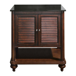 Avanity Corporation - Tropica - 30 in. Antique Brown Vanity - Vanity only in Antique Brown finish. Birch solid wood and veneer. Distressed wood feature. Brushed nickel finished hardware. Soft-close slatted doors and open shelf. Adjustable height levelers. Top not included. 30 in. W x 21 in. D x 34 in. H