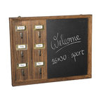 "ADAD6612 - Distressed Brown Finish Wood Key Chain Hanger Chalk Board - Distressed brown finish wood key chain hanger chalk board. This set features a chalk board with 6 key hangers on the side great for notes and messages for the family. Measures 20"" x 16""."