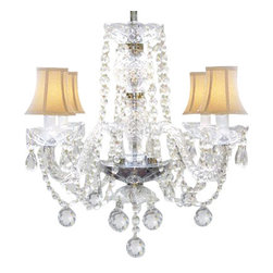 The Gallery - Venetian Style Crystal Chandelier with White Shades - Indulge a fantasy of illumination. You'll bring sparkle and splendor to your decor with this chandelier, adorned with dazzling crystal balls and dainty champagne shades.