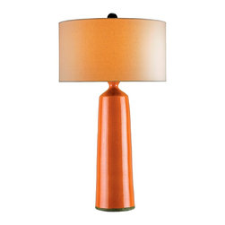 Currey and Company - Prideaux Table Lamp - Beautiful terra cotta column lamp in a beautiful pumpkin finish. The lamp can be used in a traditional as well as transitional settings. The shade is off white linen.