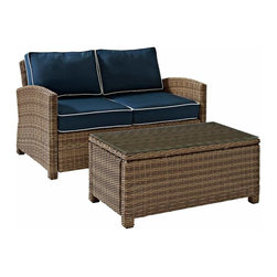 Crosley - Biltmore 2 Piece Outdoor Wicker Seating Set - Loveseat & Glass Table, Navy - The modular design of the Biltmore 2-Piece Outdoor Wicker Conversation Set by Crosley allows you to customized seating area in your backyard. Coordinate with other Biltmore Wicker pieces or create your own configuration (additional pieces sold separately)