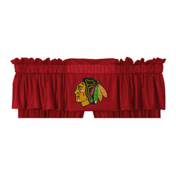 Sports Coverage - NHL Chicago Blackhawks Hockey Locker Room Window Valance - FEATURES:
