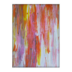 Art Abstract Acrylic Original Painting on Canvas - 24x36 - Orange, Yellow, Pink - Each painting is unique and hand painted.  Design might slightly vary.