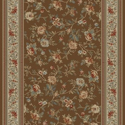 "Concord Global - Concord Global Ankara Floral Garden Brown  6'7"" x 9'6"" Rug (6228) - The Ankara collection is made of heavy heat-set olefin and has the look and feel of an authentic hand made rug at a fraction of the cost. New additions to the line include transitional patterns that are up to date in the current fashion trend. Made in Turkey"
