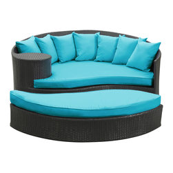 East End Imports - Taiji Outdoor Wicker Patio Daybed with Ottoman - Harmonize inverse elements with this radically pleasing daybed set. Seven plush throw pillows adorn Taji's thick all weather light blue cushions allowing for the splendorous blending of mediating elements. Find the key to attainment as you bask in a charged and unified landscape of expansiveness.