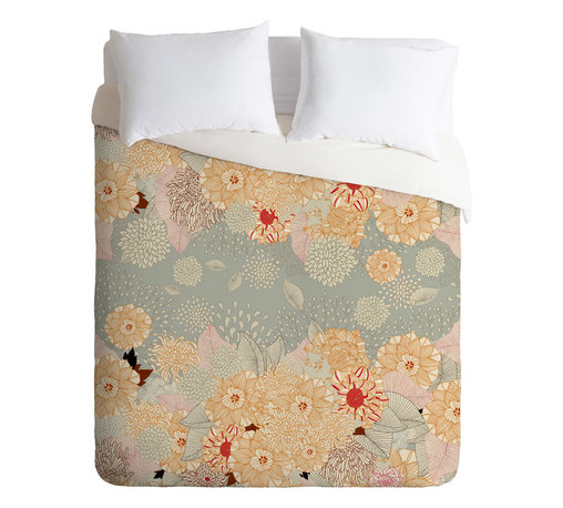 DENY Designs - Iveta Abolina Creme De La Creme Queen Duvet Cover - A bevy of beautiful blossoms adorns this spirited duvet cover. Artist Iveta Abolina's charming design is custom printed on soft, easy-care woven polyester. A hidden zipper makes it easy to remove the cover for cleaning. Crave a little change of pace? Flip it over and the back is solid white.