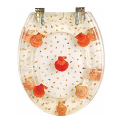 Renovators Supply - Toilet Seats Chrome Polymer Toilet Seat Sea Shells | 16961 - Sea Shells Toilet Seats: Made of High Grade Polymer this seat is designed for maximum strength and durability and does NOT yellow over time like most polymers. Cast within the seat the stabilizing bumpers prevent rocking and keep the seat safely in place. Oval, chrome-plated brass hinges are tarnish resistant and fit standard hole spacing 5 1/2 inch on center and are adjustable but not recommended for adjusting on standard US toilets. May not be compatible with other brand name toilets. Seat measures: 16 7/8 inch x 14 1/2 inch Lid measures: 16 1/8 inch x 13 3/8 inch