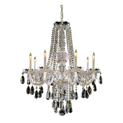 8 Light Crystal Chandelier - Add the final touch to your girl's bedroom or baby's nursery with this gorgeous all white glass arm Crystorama chandelier, featured in a Polished Chrome finish and is adorned with hand cut crystals!