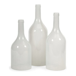 iMax - iMax Monteith Cloche Bottles - Set of 3 X-3-30479 - This set of three bottle cloches feature a subtle milky tint and look great grouped on any tabletop. Use to cover small botanicals or accents in bold colors.