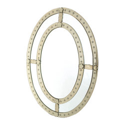 Oval Antique Trimmed Mirror - This Oval Antique Trimmed Mirror is a beautiful and superbly-designed product of interior decoration. It comes from the French Collection and durably made. It has an oval-shape and features an intricately-designed ring design and a luminous finish.