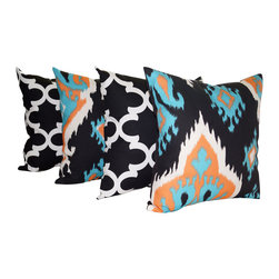 Land of Pillows - Premier Prints Fynn Black Morrocan and Ikat Apache Orange Throw Pillows - 4 Pack - Fabric Designer - Premier Prints