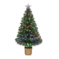 None - 36-inch Multi-color LED Fiber Optic Tree - With sparkling lights and realistic look, this fiber optic tree is the perfect addition to your home decor this season. With a solid base and top star, this tree is a great way to celebrate Christmas.