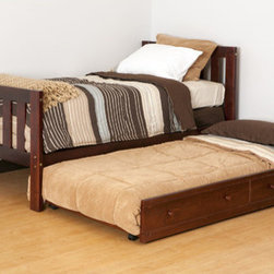 Canwood Furniture - Alpine II Bed Set - Features: -Alpine II collection. -Solid New Zealand pine construction featuring wide slats make for a very stable design. -Designed with safety in mind. -Meets current U.S and Canada safety standards. -Easy to assemble using metal fasteners for a secure and durable bed. -Fully ready-to-assemble format permits compact packaging and shipping. -Product will arrive in 2 separate boxes. -Box 1 will contain the headboard and footboard. -Box 2 will contain the side rails and mattress support slats. -Fits standard sized twin mattress (sold separately). -Sleek contemporary lines. -Twin bed is a great choice for the modern bedroom. -Perfect combination of quality, design, and price. -Keep the look simple, sleek and modern or convert it into a storage bed. -Add the slide out trundle drawer for friends to experience at sleepovers. -Beds are designed with unique metal-to-metal fastening systems. -Employed for all connections, with a sturdy, safe construction.