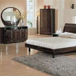 Global Furniture - 5 Pc Emily Bedroom Set in Gloss Wenge Finish - Choose Size: QueenYou can combine this five piece set with other items in this collection or use to accent your current home décor. It features a high gloss wenge finish with accenting hardware and a modern design. Comes with bed, two nightstands, dresser, and coordinating mirror. Includes bed, two nightstands, dressing table and mirror. Armoire and chest not included. Contemporary style. Durable construction. Beveled mirror. Nicely looking frosted glass on nightstands and chest. Constructed with MDF. Queen headboard: 69 in. L x 43 in. W x 10 in. H (119 lbs.). Queen Panels: 75 in. L x 8 in. W x 7 in. H (48 lbs.). Queen bed frame and slat: 74 in. L x 62 in. W x 2 in. H (40 lbs.). King headboard: 88 in. L x 43 in. W x 10 in. H (146 lbs.). King Panels: 86 in. L x 39 in. W x 4 in. H (51 lbs.). King bed frame and slat: 83 in. L x 8 in. W x 7 in. H (63 lbs.). Nightstand: 24 in. W x 24 in. D x 20 in. H (59 lbs.). Dresser: 63 in. W x 32 in. D x 21 in. H (216 lbs.). Mirror: 47 in. W x 39 in. H (57 lbs.)