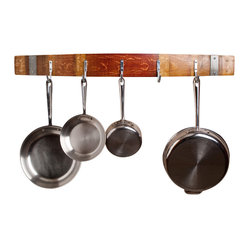 Wine Barrel Pot Rack With Bands