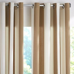 """PB Classic Stripe Outdoor Canvas Grommet Drape, 50 x 96"""", Tumbleweed - Awning stripes add an all-American appeal to our outdoor drape. Use it to transform a porch or patio into a comfortable spot to lounge. 50"""" wide; available in three lengths Made from weather-resistant polyester. Tie backs included. Can also be used indoors for extra light filtration. Dry-clean. Catalog / Internet only. Imported."""
