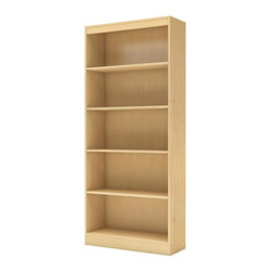 South Shore - 5-Shelf Bookcase in Natural Maple - Accessories not included. Contemporary style with sleek lines. Five open and accessible storage spaces. One fixed shelf and three adjustable shelves. Laminated particle board. Warranty: Five years. Made in Mexico. Assembly required. 30.75 in. W x 11.5 in. D x 71.25 in. H (64 lbs.). Assembly InstructionsThis Axess Collection bookcase is ideal for your binders, books or decorative items. Its refined lines harmonize seamlessly with virtually any decor. Both functional and attractive, this bookcase is sure to enhance the look of any room in your home.