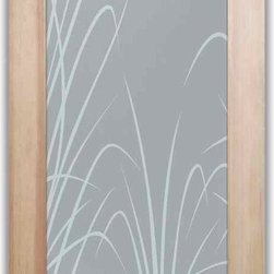 """Bedroom Doors, Interior Glass Doors - Wispy Reeds - CUSTOMIZE YOUR INTERIOR GLASS DOOR!  Interior glass doors or glass door inserts.  .Block the view, but brighten the look with a beautiful interior glass door featuring a custom frosted privacy glass design by Sans Soucie! Suitable for bathroom or bedroom doors, there are no clear areas on this glass.  All surface areas are etched/frosted to be 100% opaque.  Note that anything pressed up against the glass is visible, and shapes and shadows can be seen within approx. 5-12"""" of the glass.  Anything 5-12"""" from the glass surface will become obscured.  Beyond that distance, only lights and shadows will be discernible. Doors ship for just $99 to most states, $159 to some East coast regions, custom packed and fully insured with a 1-4 day transit time.  Available any size, as interior door glass insert only or pre-installed in an interior door frame, with 8 wood types available.  ETA will vary 3-8 weeks depending on glass & door type........  Select from dozens of sandblast etched obscure glass designs!  Sans Soucie creates their interior glass door designs thru sandblasting the glass in different ways which create not only different levels of privacy, but different levels in price.  Bathroom doors, laundry room doors and glass pantry doors with frosted glass designs by Sans Soucie become the conversation piece of any room.   Choose from the highest quality and largest selection of frosted decorative glass interior doors available anywhere!   The """"same design, done different"""" - with no limit to design, there's something for every decor, regardless of style.  Inside our fun, easy to use online Glass and Door Designer at sanssoucie.com, you'll get instant pricing on everything as YOU customize your door and the glass, just the way YOU want it, to compliment and coordinate with your decor.   When you're all finished designing, you can place your order right there online!  Glass and doors ship worldwide, custom packed in-house, """