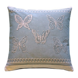 Pillow Decor Ltd. - Pillow Decor - Lace Butterflies in Blue French Tapestry Throw Pillow - Delicate and elegant but not overdone, this decorative throw pillow will look so lovely on your sofa or daybed. This feminine French tapestry pillow features butterflies in flight against a soft blue sky cotton. The lace work will simply amaze you with its beauty, and the sturdy wine-colored canvas back makes this the perfect pillow for any room in the house.