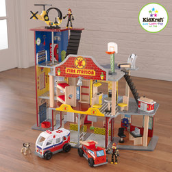 "Kidkraft - Kidkraft Deluxe Fire Rescue Set From Vistastores - The young firefighters in your life are sure to get a kick out of our Deluxe Fire Rescue Set. With its vibrant colors and close attention to detail, this fun set is sure to keep imaginations running wild for a long time. , Silver bell hangs from front of firehouse , 22 pieces of furniture, 2 firefighters , Helipad and helicopter, Garage with ambulance and fire truck, Large enough that multiple children can play at once, 31""L x 17.5""W x 24.75""H, MDF, molded plastic and fabric."