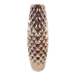 Rose Gold Patterned Vase, Medium - This statement piece will add texture and glam to any space it adorns. This decorative vase is debossed with a concave diamond shaped motif throughout. Available in a shiny rose gold finish.