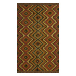 Rugsville - Rugsville Diamond pattern Brown Jute & Wool Kilims 13645-58 Rug - Rugsville Flat weave carpets are known for their beauty, durability and strength. Flat weave carpets also called as flat woven carpets, utilize warp and weft strands as a part of the foundation and in creating patterns. Virtually all types of colors are used in these carpets. Design theme is derived from the natural surroundings, geometrical and floral patterns, cultural and historical traditions.